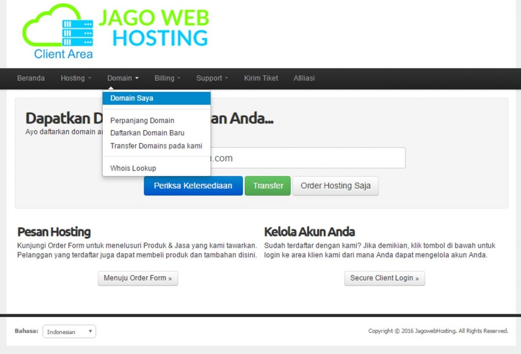 dashboar client area jagowebhosting