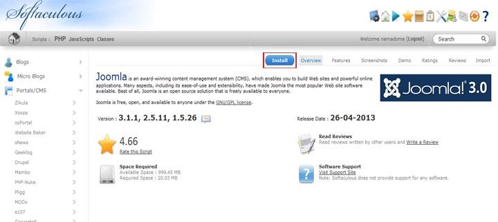 install joomla softaculous 3