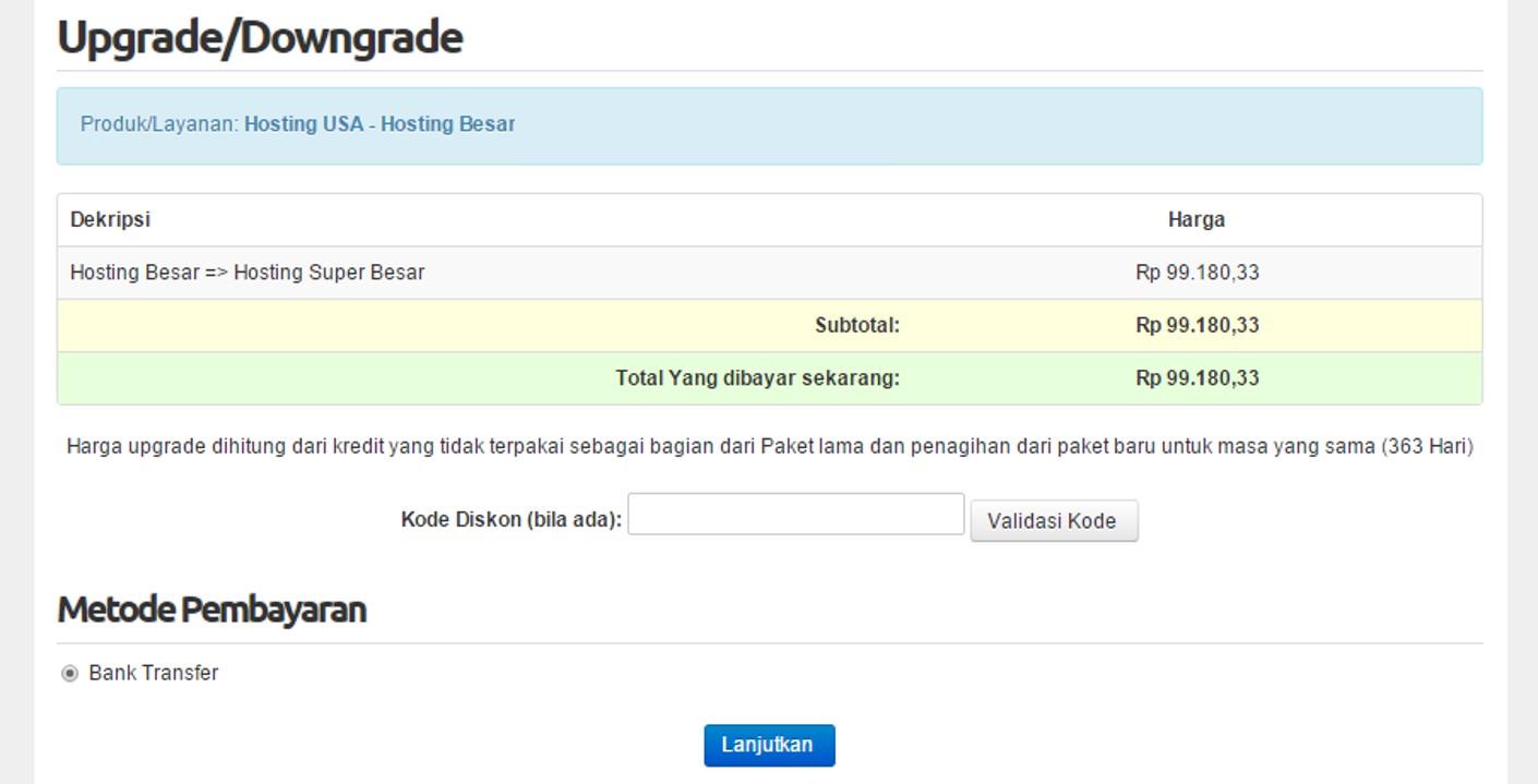invoice upgrade paket hosting