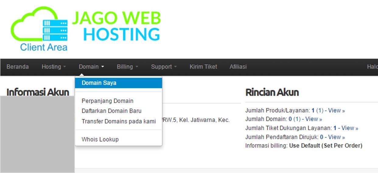 menu domain saya jagowebhosting